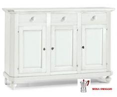 CLASSICO madia bassa Shabby Chic bianca con 2 sportelli e 2 cassetti sala 105x42x85 1384