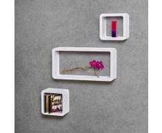 TecTake Set di mensole muro mensola libreria libri cubo pensile scaffale CD bianco