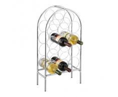 Zeller 27358 - Scaffale per bottiglie di vino, superficie cromata, 33,5 x 16,5 x 62 cm