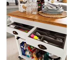 SoBuy Carrello di servizio, Carrello cucina,Scaffale da cucina,in Legno&Bambù, naturale&bianco, FKW08-WN, IT