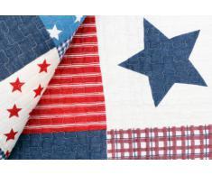 1001 Wohntraum D14 Quilt Stars 'n Stripes - Trapunta patchwork con motivo a stelle e strisce, stile shabby, 180 x 220 cm