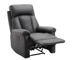 HOMCOM Poltrona Relax Reclinabile Imbottita Ergonomica con Poggiapiedi Ecopelle 80 × 97 × 107cm Nero