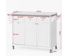 SoBuy Carrello di servizio, Scaffale da cucina, Mensola angolare, legno+ acciaio(piano), bianco, FKW33-W, IT