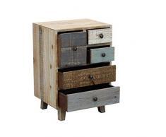 Milani Home s.r.l.s. cassettiera in Legno Mobile per Interno con 5 cassetti di Design Stile Country Moderno Vintage