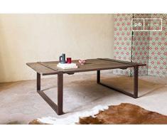 pib - Tavolini da Salotto - Tavolino da salotto Domancy, Solido legno di olmo, 100% stile industriale.