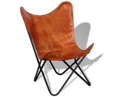 vidaXL 243728 - Poltrona relax in vera pelle, a farfalla, stile vintage, colore marrone, misura unica