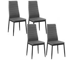 WOLTU BH85gr-4 Set di Sedie per Sala da Pranzo Sgabello con Schienale Ecopelle Metallo Sedia Imbottita per Cucina Ristorante Moderno Grigio 4 Pezzi