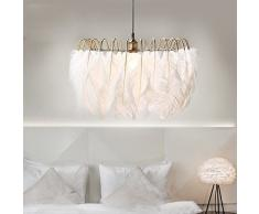 SUO Lampadario di piume bianche Nordic moderno minimalista soggiorno camera da letto calda personalità creativa lampada della camera dei bambini arte,A,60CM DEN
