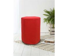 Rebecca Srl Pouf Sgabello Esagonale Imbottito Tessuto Rosso Arredamento Casa Living (Cod. RE4540)