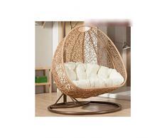 BLSTY Doppio Hanging Egg Chair Poltrona Pensile Cuscino de Sedile, Traspirabile Amaca Cuscino Sedia per Cesto Appeso Cuscini Schiena Cuscino Lombare Senza staffa-C-140x105cm(55x41pollice)