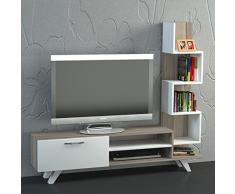 Alphamoebel - Parete attrezzata soggiorno Ceren, colore: Bianco/ Cordoba