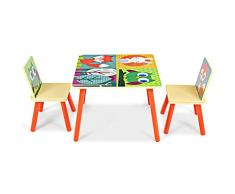 GOPLUS Set di Tavolo e 2 Sedie per Bambini, di Legno, Multicolore