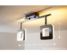 LED Lampadario con 2 Faretti Mobili Plafoniera NEW Braccio LED 2 x 6 Watt