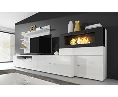 Home Innovation- Mobile Soggiorno- Parete da Soggiorno con biocamino a bioetanolo, finiture bianco mate e bianco laccato, dimensioni: 290 x 170 x 45 cm di profondità.