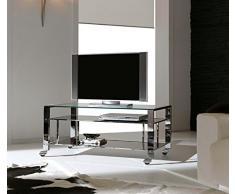 TV Tavolo con Ruote Mod. MILAN-TV Moderno 100x45x50h cm cromo lucido