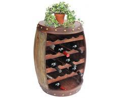 Scaffale-Vini Botte-Vini Botte in Legno Alt.70cm Nr.1546 Porta-Bottiglie Scaffale Marrone Antico