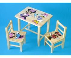Set in legno tavolino con 2 sedie per cameretta bambini. M13. Ottima idea regalo.Completo in pino con disegno a mano.