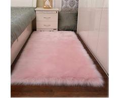 Tappeto in Finta Pelle di Pecora, tappeti in Morbida Pelliccia Tappeto Anti-Scivolo per tappeti da Salotto Decorazioni per Interni (Rosa Chiaro, 60x90cm)