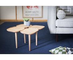 pib - Tavoli Occasionali - Tavolo occasionale in legno Kädri, Tavolino in massello di frassino con quattro piani retrò