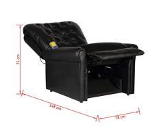 Vislone Poltrona Massaggiante Relax Chesterfield Elettrica Reclinabile Moderna in Ecopelle Nera,Poltrona Relax,Poltrona Reclinabile 78 x 94 x 91 cm