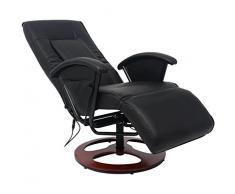 Festnight Poltrona Relax Massaggiante/da Massaggio Reclinabile Schienale Regolabile Shiatzu metà PU Nera con Telacomando