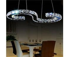 Lonfenner Lampadari di cristallo a forma di S Lampadari Cristallo LED cromo in acciaio inox moderno Villa minimalista sala da pranzo lampadario Lampada di cristallo (lungo 60cm larghezza 30 cm) , Cool white Light
