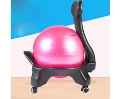 Wly&home Balance Ball Chair, Esercizio stabilità Yoga Ball Sedia ergonomica Premium per la casa e la scrivania,Rosa