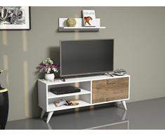 PARTY Set Soggiorno - Bianco/Noce - Parete attrezzata - Mobile TV Porta con mensola da muro in un design moderno