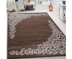 Paco Home Tappeto Di Design Con Motivo Floreale Filato Lucido Beige Bianco Marrone Mélange, Dimensione:60x110 cm