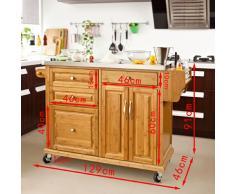 SoBuy Carrello di servizio, Scaffale da cucina, Mensola angolare, bambù+ acciaio(piano), FKW14-N(L129*L46*A91cm).IT