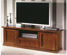 Mobile porta tv, stile classico, in legno massello e mdf con rifinitura in noce lucido - Mis. 45 x 160 x 56