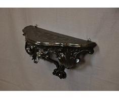 Idea Casa Mensola Consolle Nero Black Stile Barocco Luigi XVI Finto Vintage cm 20x38,5x15,5