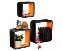 Woltu RG9269or Mensole da Muro Mensola a Cubo Scaffale Parete CD/DVD Decorazione per Cameretta Legno MDF Moderno 3 Pezzi Diametri Diversi Arancio-Nero
