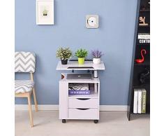 JIA He SENG Furniture/Regolabile in Altezza servitore Tavolino Comodino in Legno con Supporto Rotante, cassetti di immagazzinaggio, Ruote e Open Shelf (Colore: Rosa) (Color : White)