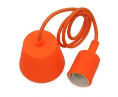 Lampadario Sospensione Lampade a Sospensione Silicone Arancione Moderno con Portalampada E27 Lunghezza Totale 104CM di Enuotek