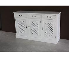 Mobile Buffet coloniale stile shabby chic in legno Teak massiccio, con Finitura VINTAGE WHITE - Prezzo Outlet