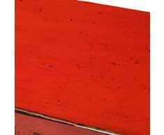 Yajutang - Credenza Cinese Antica a 4 Ante, Colore: Rosso