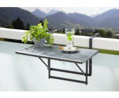 greemotion Tavolino da balcone pieghevole Toulouse - Tavolino da ringhiera con ripiano reticolato in acciaio - Tavolo sospeso da terrazzo, altezza regolabile