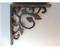 Un Paio di Piccole STAFFE in GHISA, A Forma di Foglia - STAFFE per SCAFFALE, Stile Antico, da Parete