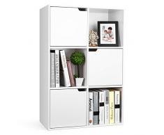 Homfa Libreria Armadio con 6 cubi Mensola in Legno, Scaffale Cubo Porta Libri CD Pianti Espositore,90 * 60 * 29cm,Bianco