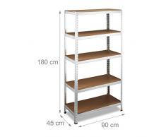 Relaxdays 10020717 Scaffale Componibile, Alluminio, Legno MDF 180x90x45 cm, Capacità di Carico 1325 kg, 5 Ripiani, Grigio