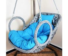 BLSTY Cuscino De Sedile per Hanging Egg Chair Poltrona Pensile, Ma Non Le Sedie, Lavabile Sollievo Dolori Cuscino Sedia per Amaca Gondola Cuscini Schiena-85x100cm(33x39pollice)-Blu