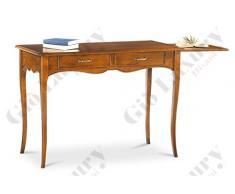 Scrittoio con piano estraibile sinistra SX, stile classico, in legno massello e mdf con rifinitura in noce lucido - Mis. 110 x 56 x 80