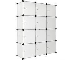 TecTake Scaffale armadietto modulare Mobile scaffalatura mensola per Scarpe Bagno Sistema di Plug-in Cuba - Diversi Colori - (Bianco | No. 401577)