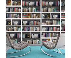 Walplus - Adesivi da parete, motivo: libreria, decalcomania rimovibile, autoadesiva, adatta per casa o ufficio, multicolore