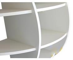 MENSOLA SFERICA DESIGN LIBRERIA DA PARETE CAMERA CUCINA BIANCA 80x80 NS-01030000