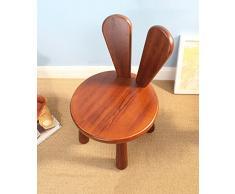 ZEMIN Sedia piena in legno massello in legno rotondo Sgabello girevole Bambino sveglio da pranzo Studio da soggiorno, marrone rossastro ( dimensioni : 25*30*46CM )