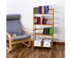 Relaxdays -Scaffale Libreria, Bambù, con 4 Ripiani, Adatto per DVD/CD, Marroncino, 120 X 57 X 31 cm