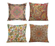 FRECINQ 4 Pezzi Federe per cuscini 45x45 cm Cuscini Decorativi Bohémien con Stampa Floreale Multicolore per Divani, Sedie da Giardino, Decorazione della camera da letto