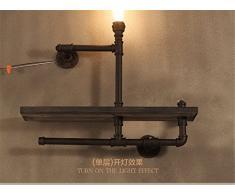 FIONADAN Retrò Personalità Creative Cafe Veranda Ristorante Americano Di Ferro Scaffalature Industriali Il Legno Della Parete Del Tubo Luci 65*65Cm